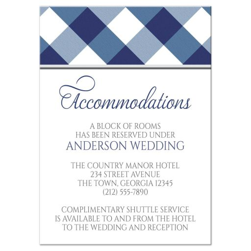 Accommodations Cards - Navy Blue Gingham White Gray