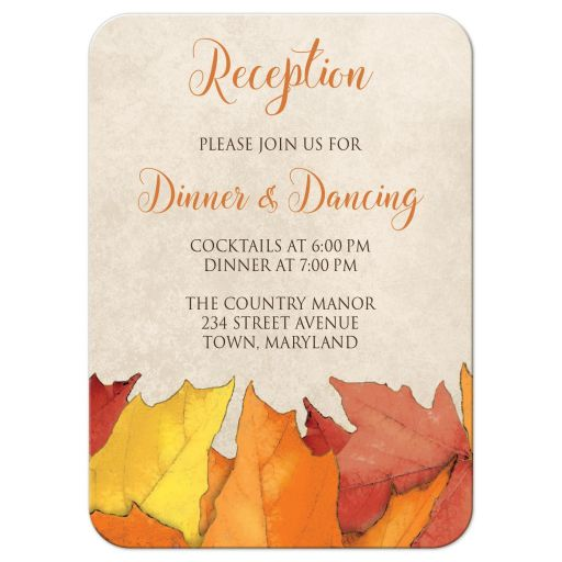 Reception Cards - Fall Rustic Wood and Leaves