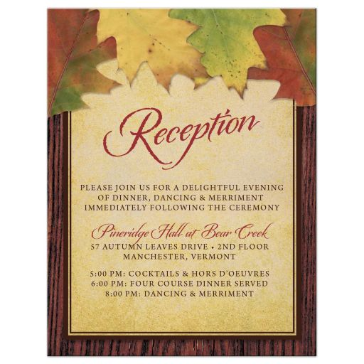 Wedding Reception Cards - Rustic Autumn Leaves