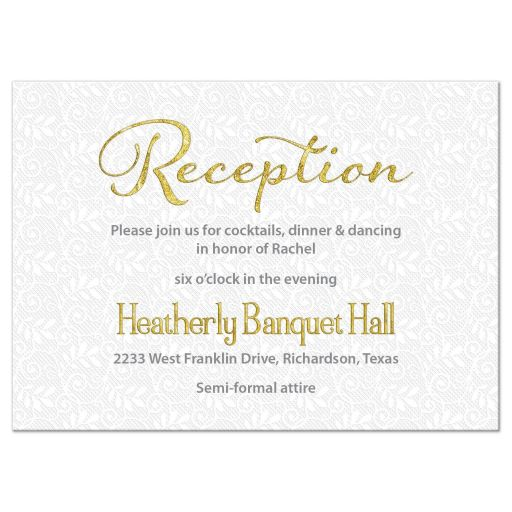White lace, gold, and silver grey Bat Mitzvah reception insert card front