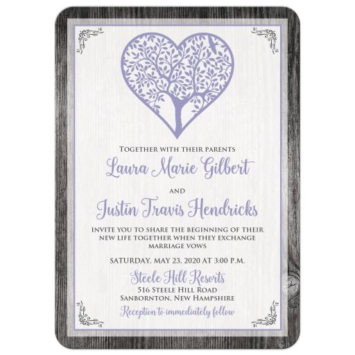 Lavender purple and grey barn wood wedding invitation with tree, heart, leaves and gray corner flourishes. and optional photo template.