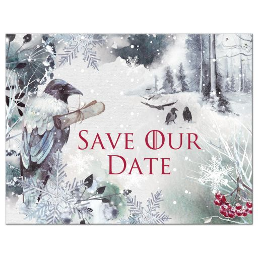 Winter fantasy watercolor ravens crows snowflakes snow ice blue white red berries wedding save the date post card.
