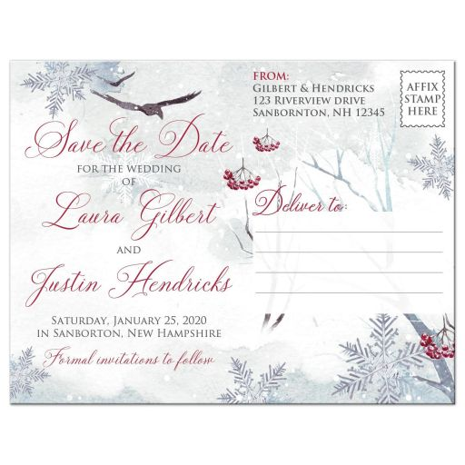Winter fantasy watercolor ravens crows snowflakes snow ice blue white red berries wedding save the date postcard.