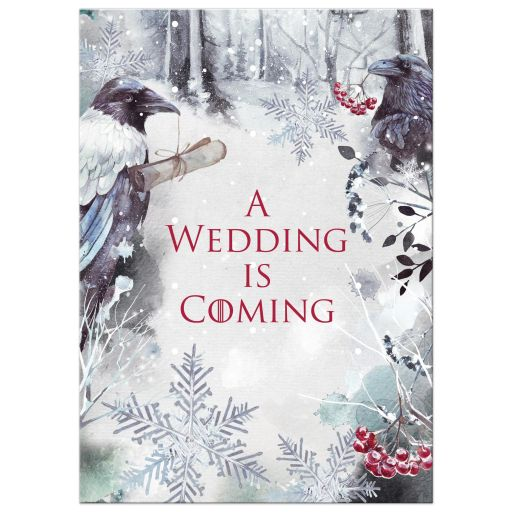 Winter fantasy watercolor ravens crows snowflakes snow ice blue white red berries wedding invitation.