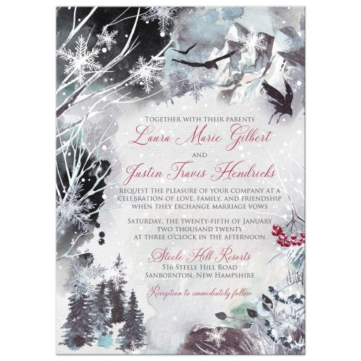 Winter fantasy watercolor ravens crows snowflakes snow ice blue white red berries wedding invites