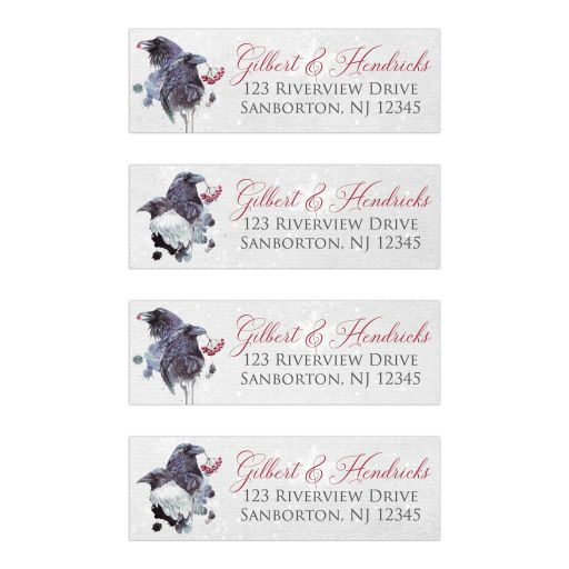 ​Winter fantasy watercolor ravens crows snowflakes snow ice blue white red berries wedding address labels.