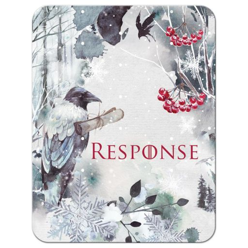 ​Winter fantasy watercolor wedding response enclosure cards with a raven, crows, snowflakes, snow, mountains, and red berries .