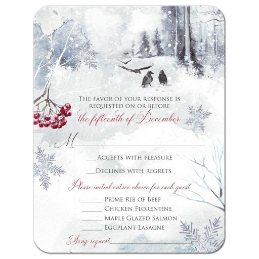 ​Winter fantasy watercolor wedding RSVP enclosure card with a raven, crows, snowflakes, snow, mountains, and red berries .