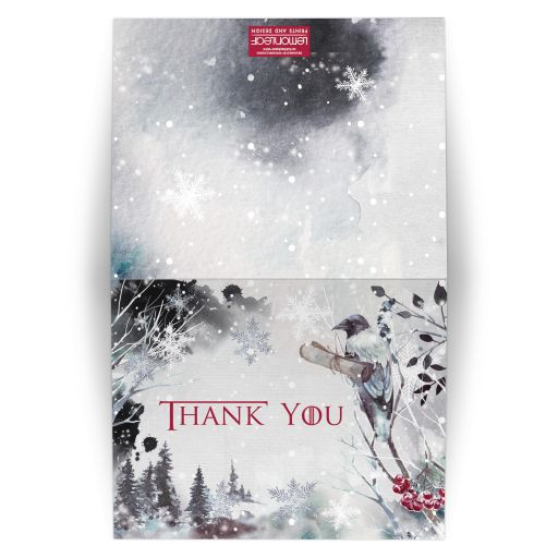Winter fantasy watercolor wedding thank you card with raven, crow, snowflakes, snow, and red berries in ice blue grey white.
