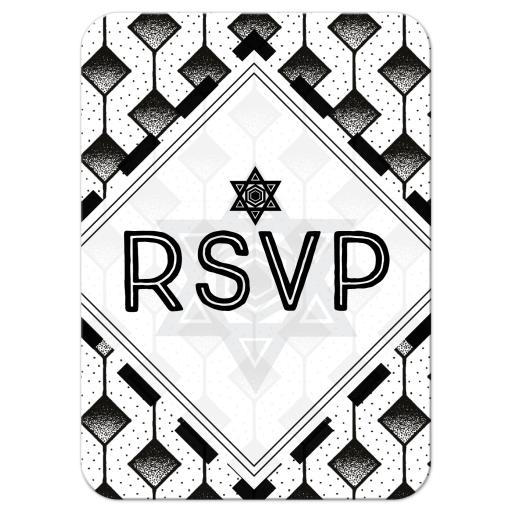 Modern Geometric Black and White Bar Mitzvah Response Card