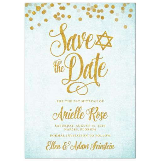 Aqua Blue & Gold Bat Mitzvah Save The Date Cards by The Spotted Olive
