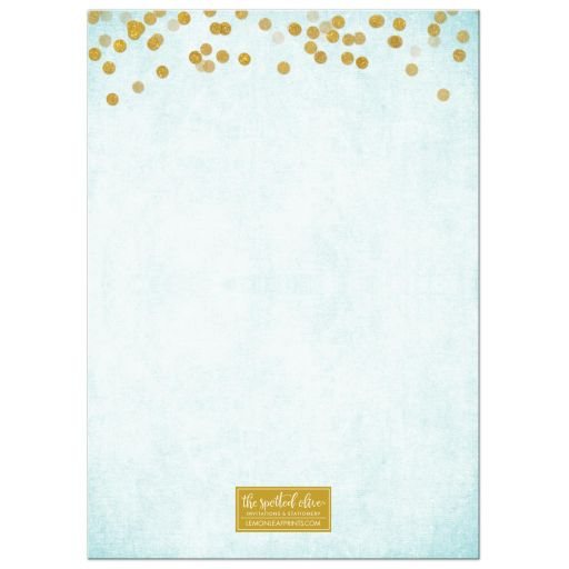 Aqua Blue & Gold Bat Mitzvah Save The Date Cards by The Spotted Olive - Back