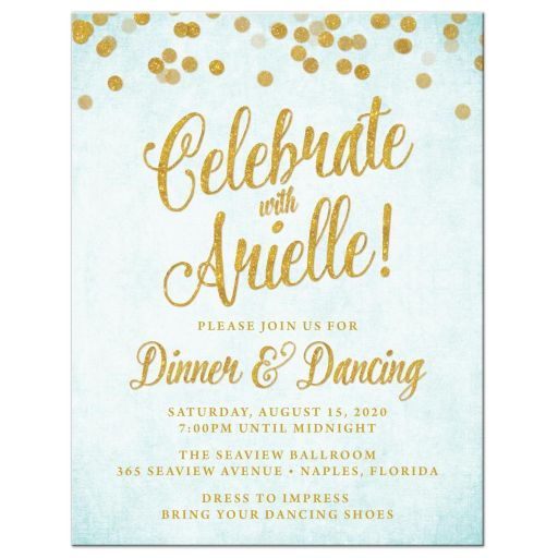 Aqua Blue & Gold Bat Mitzvah Reception Cards by The Spotted Olive