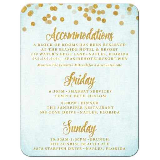 Aqua Blue & Gold Bat Mitzvah Details Cards by The Spotted Olive