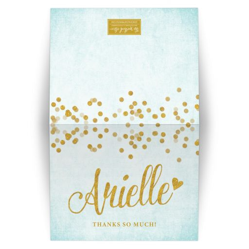Aqua Blue & Gold Personalized Thank You Cards by The Spotted Olive