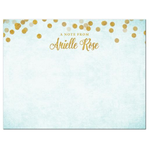 Aqua Blue Gold Bat Mitzvah Personalized Note Card