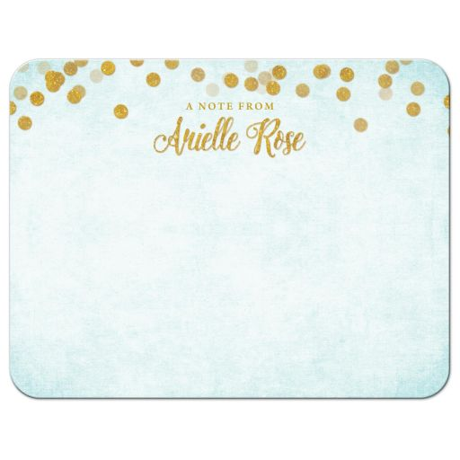 Aqua Blue & Gold Personalized Note Cards by The Spotted Olive