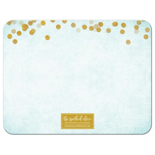 Aqua Blue & Gold Personalized Note Cards by The Spotted Olive - Back