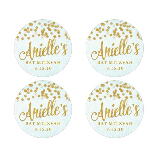 Aqua Blue & Gold Bat Mitzvah Favor Stickers by The Spotted Olive