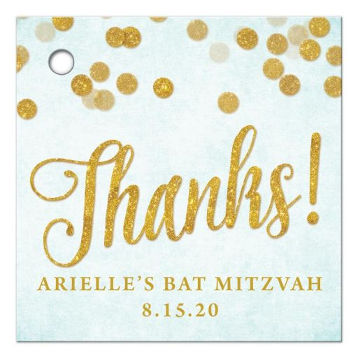 Aqua Blue & Gold Personalized Thank You Favor Tags by The Spotted Olive