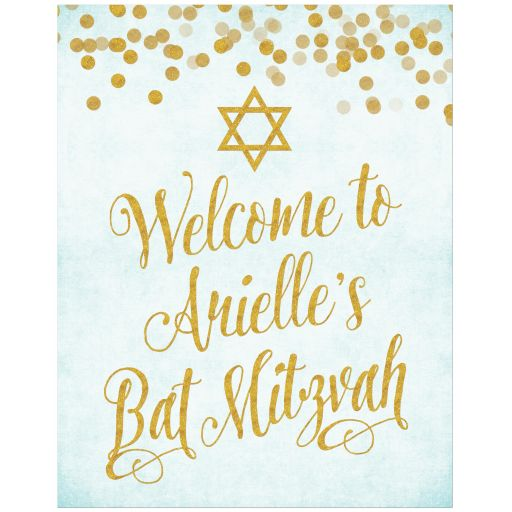 Aqua Blue & Gold Personalized Welcome Sign by The Spotted Olive