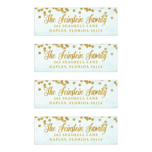 Aqua Blue & Gold Return Address Labels by The Spotted Olive
