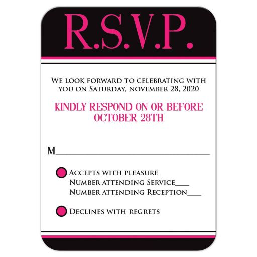 Trendy hot pink, black, and white modern typography Bat Mitzvah RSVP enclosure card insert with a bold painted brush strokes pattern in fuchsia pink.