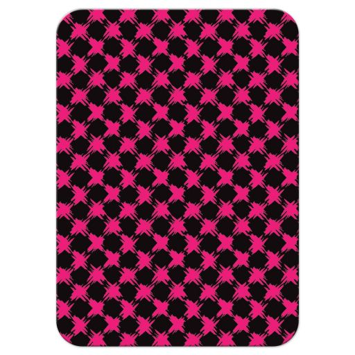 Trendy hot pink, black, and white modern typography Bat Mitzvah R.S.V.P. enclosure cards with a bold painted brush strokes pattern in fuchsia pink.