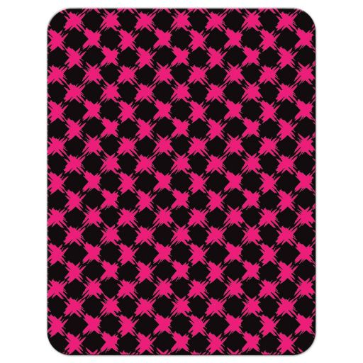 Trendy hot pink, black, and white modern typography Bat Mitzvah thank you card with a bold painted brush strokes pattern in fuchsia pink.
