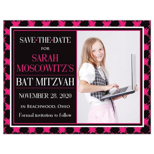 ​Trendy hot pink, black, and white modern typography Bat Mitzvah photo template save the date card with a bold painted brush strokes pattern in fuchsia pink.
