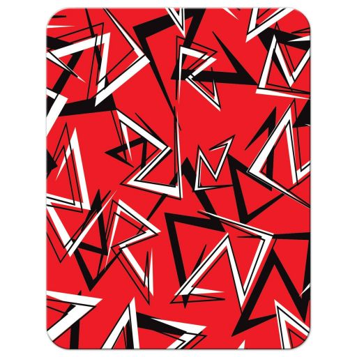 Black, white, and red modern typography Bar or Bat Mitzvah thank you card with a bold urban graffiti zigzag pattern.