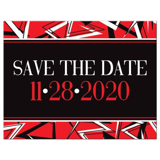 ​Black, red, and white modern typography photo template Bar Mitzvah or Bat Mitzvah save the date card with a bold urban graffiti zigzag pattern.