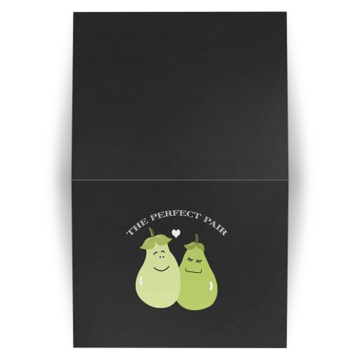 Perfect Pair / Pear Cute Couples Wedding Note Card Folded Thank you note