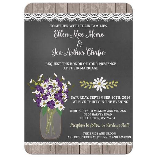 Hydrangea Mason Jar Wedding Invitation (#409)