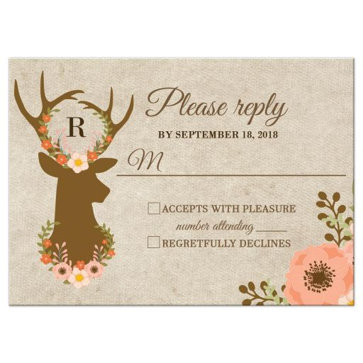 Floral Deer Wedding RSVP Card Reply Card