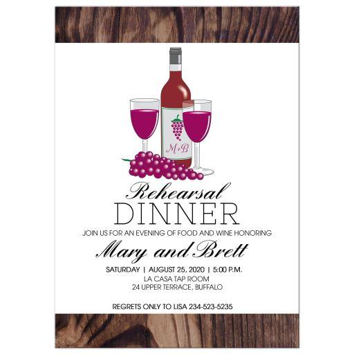 Wine Rehearsal Dinner Wedding Invitation