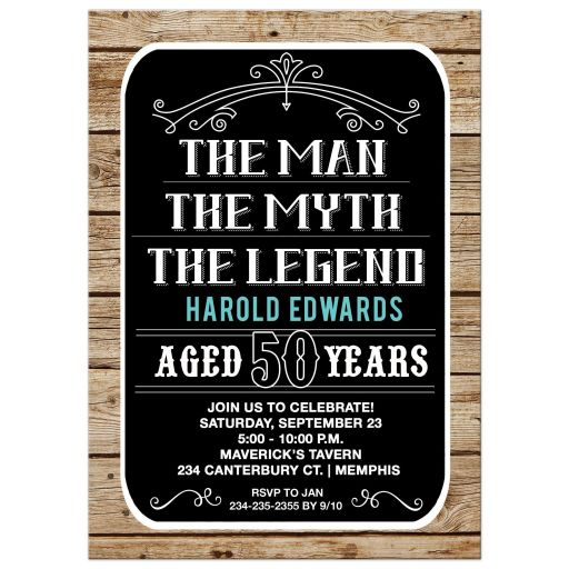 50 year old Man Birthday Invitation