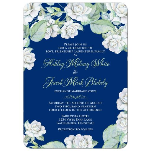 Elegant and classic navy blue and white rose wedding invitation front