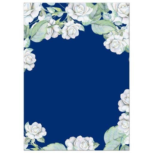 Elegant and classic navy blue and white rose wedding invitation back