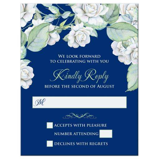 Elegant and classic navy blue and white rose wedding RSVP card front