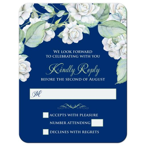 ​Elegant and classic navy blue and white rose wedding RSVP card front