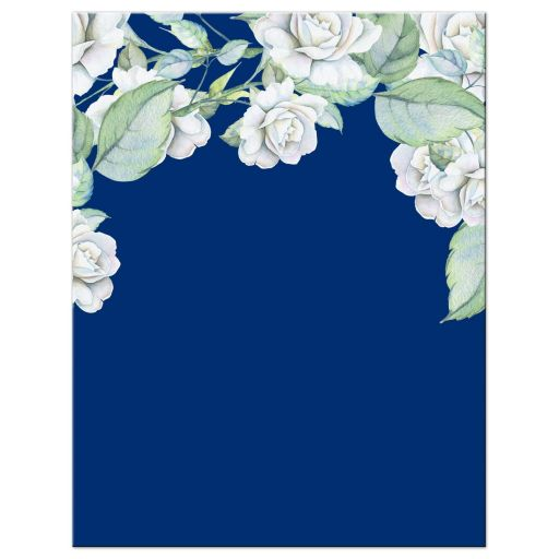 ​Elegant and classic navy blue and white rose wedding RSVP card back