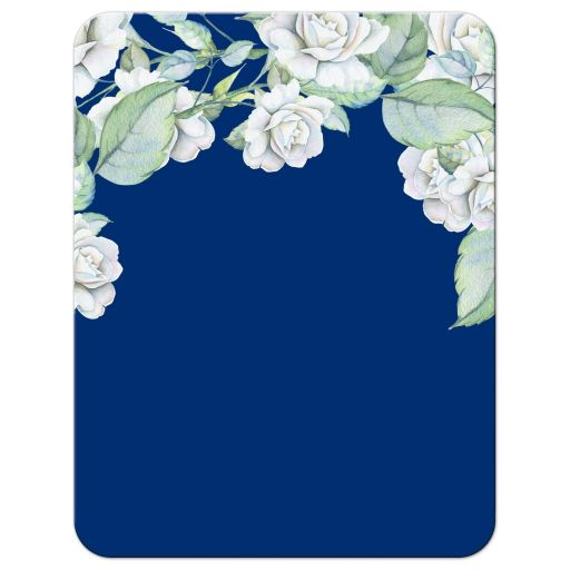 Elegant and classic navy blue and white rose wedding RSVP card back