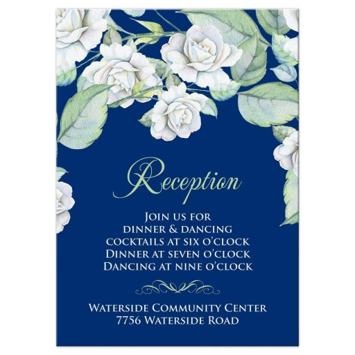 ​Elegant and classic navy blue and white rose wedding reception insert card front