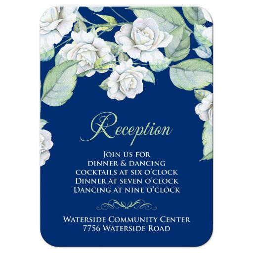 Elegant and classic navy blue and white rose wedding reception insert card front
