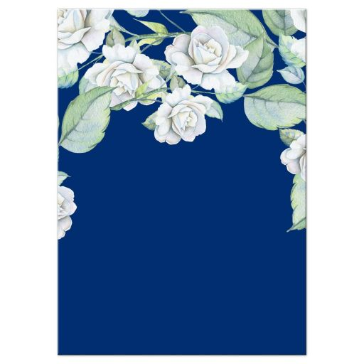 Elegant and classic navy blue and white rose wedding reception insert card back
