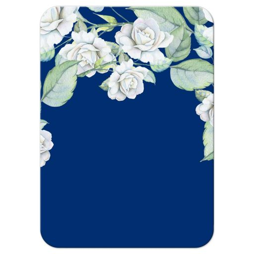 ​Elegant and classic navy blue and white rose wedding reception insert card back