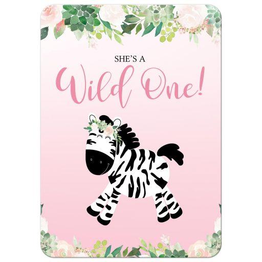 Wild One Girl Zebra Jungle 1st Birthday Invitations