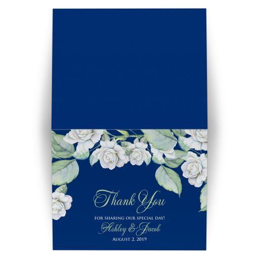 Elegant and classic navy blue and white rose wedding thank you card, personalized, folded