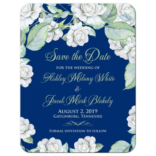 Elegant and classic navy blue and white rose wedding save the date card front
